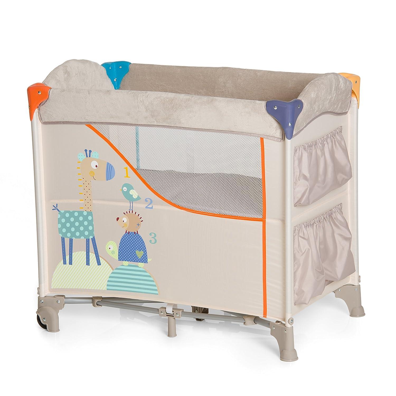 Hauck / Sleep N Care / Lit Cododo 5 Piè ces / 80 x 44 cm / Lit Parapluie avec Matelas, Roues, Poches, Sac de Transport / Pliable / Animals (Beige) HB0WQ 608135