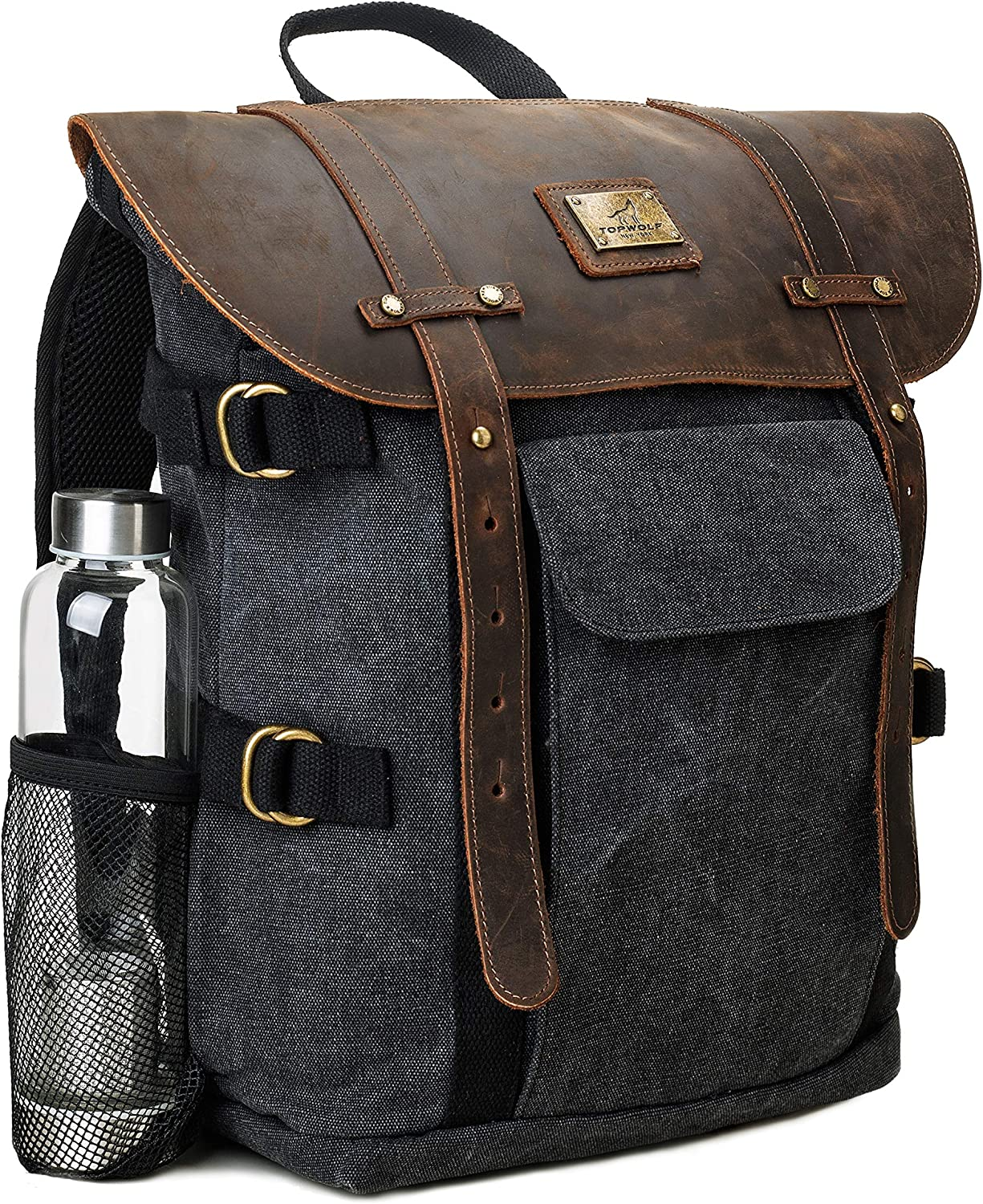Leather Backpack for Men TOPWOLFS Canvas Backpack Vintage Rucksack fit 15.6 Laptop Books School Travel Bag