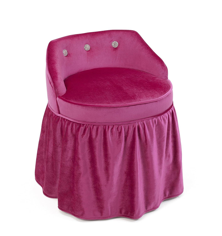4d概念Zooey Girls化粧台椅子with Ruffle Bottom Skirt inピンク B01NADQ7N3