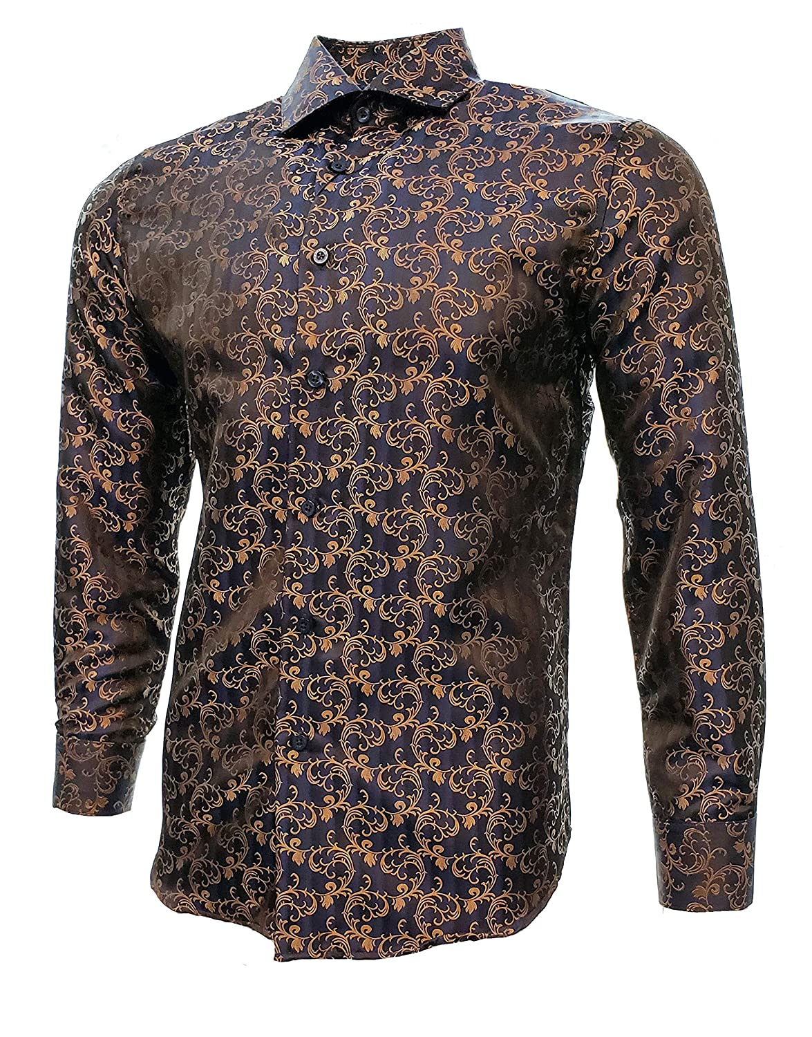 Centenario Mens Casual Shirt Long Sleeve Color Blue//Brown