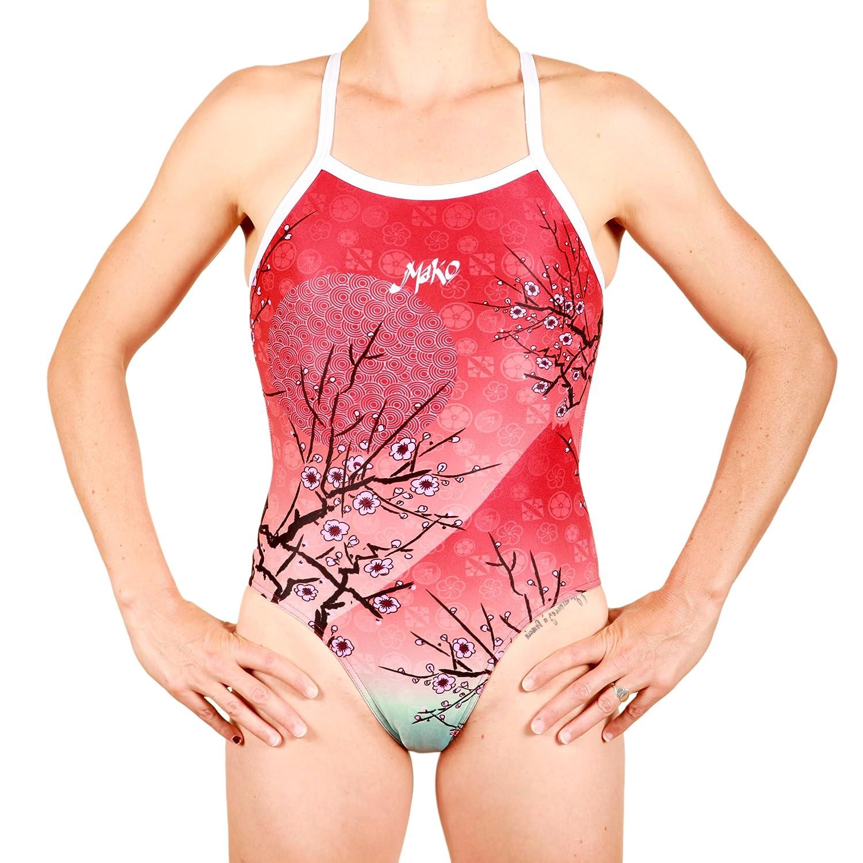 dise/ño Divertido Colores Cherry Blossom Red Anti Cloro Endurance Cherry Blossom Red ba/ñador Mujer competici/ón o Entrenamiento PBT Mako Aumakua NZ