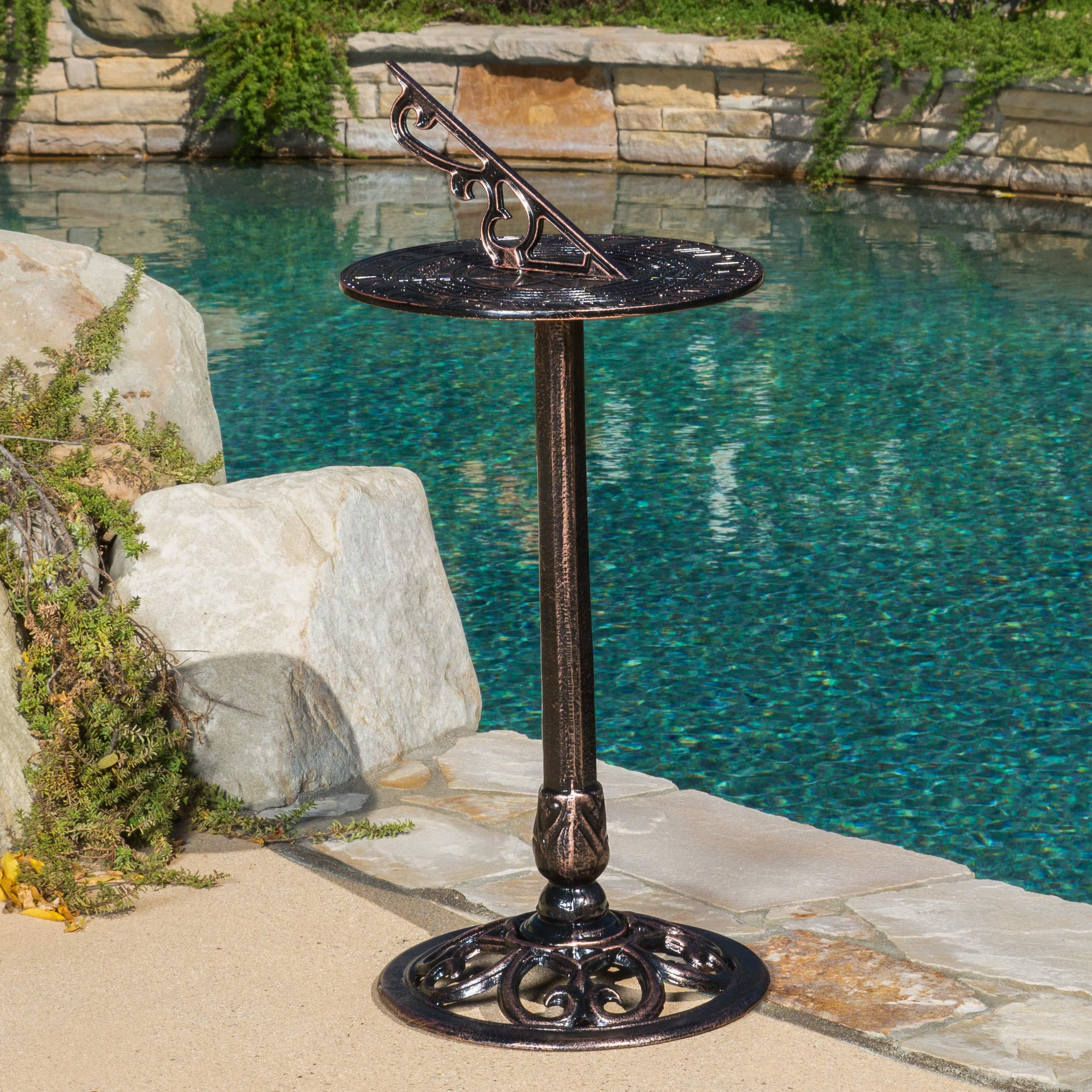 Great Deal Furniture Reyes Cast Aluminum Copper Sun Dial