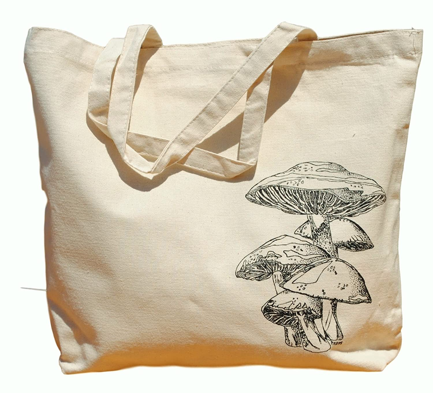 Canvas Tote Bag - Hand Printed Mushroom - Market Travel Beach Shopper Grocery School