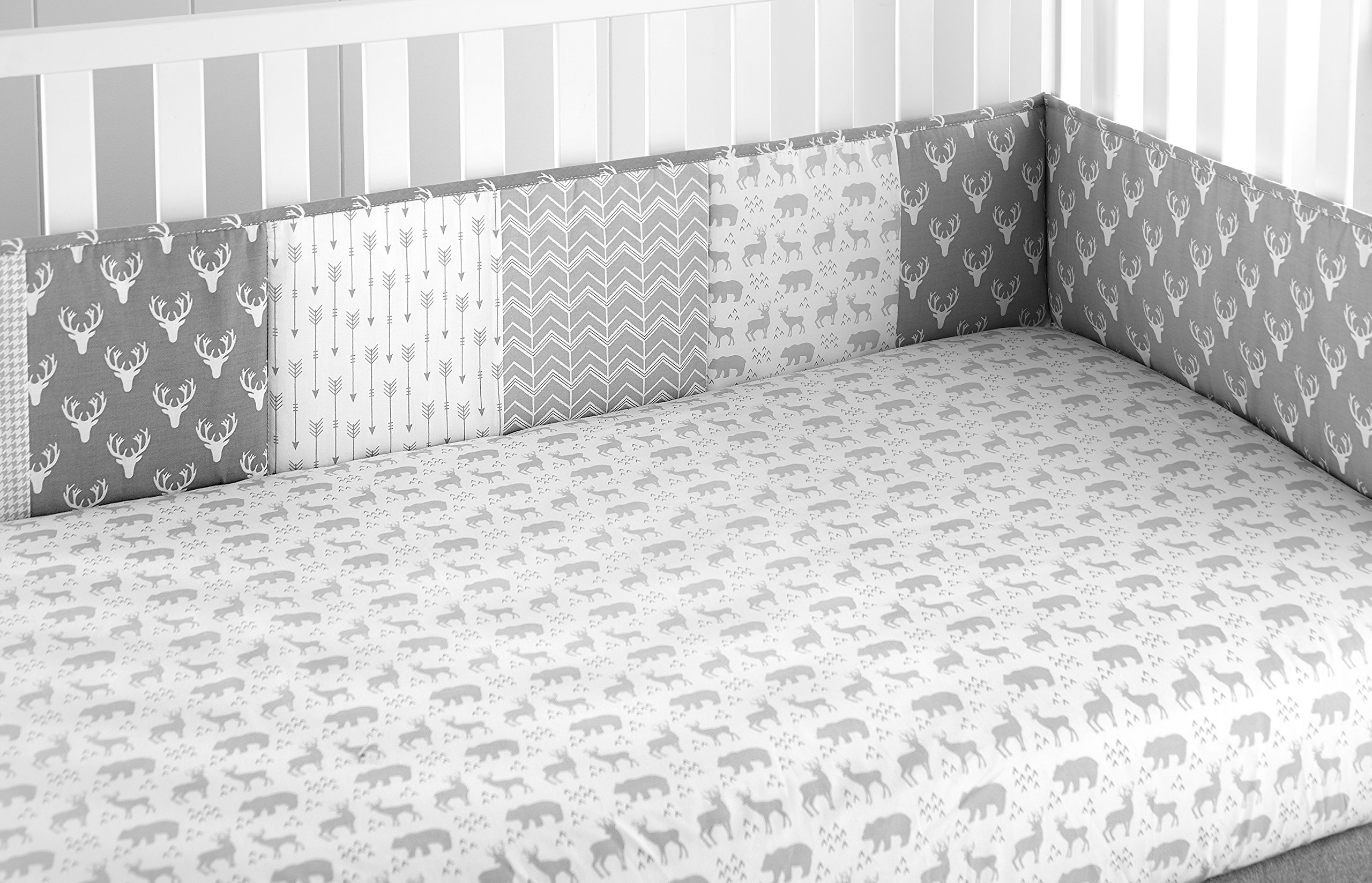 Levtex Baby Everett Grey and White Woodland Animals 4 Piece Crib Bumper Set