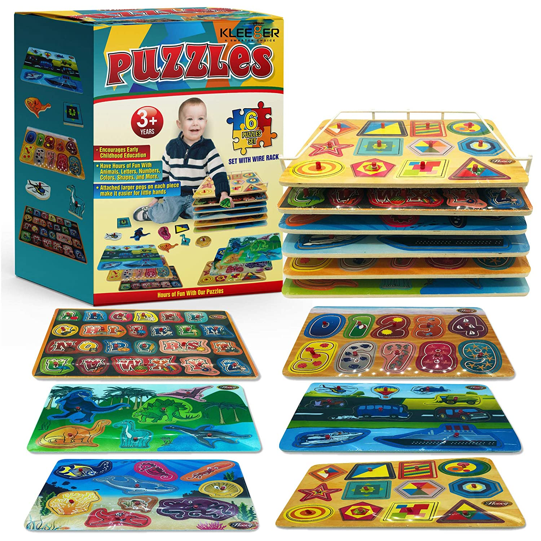 Kleeger プレミアムベビーペグパズル 6-イン-1セット - 6つのテーマ別教育ノブパズル 幼児男女 - アルファベット 数字 海の生物 恐竜 形状 車両 ボーナス:収納ラック   B01N7BTXON