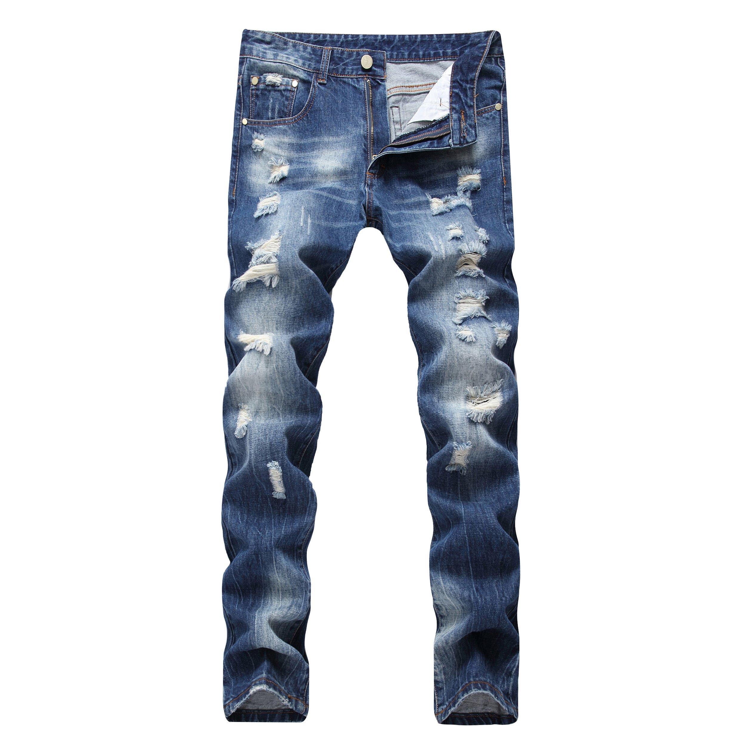DAVID.ANN Men's Straight Fit Distressed Ripped Denim Jeans,Blue,32