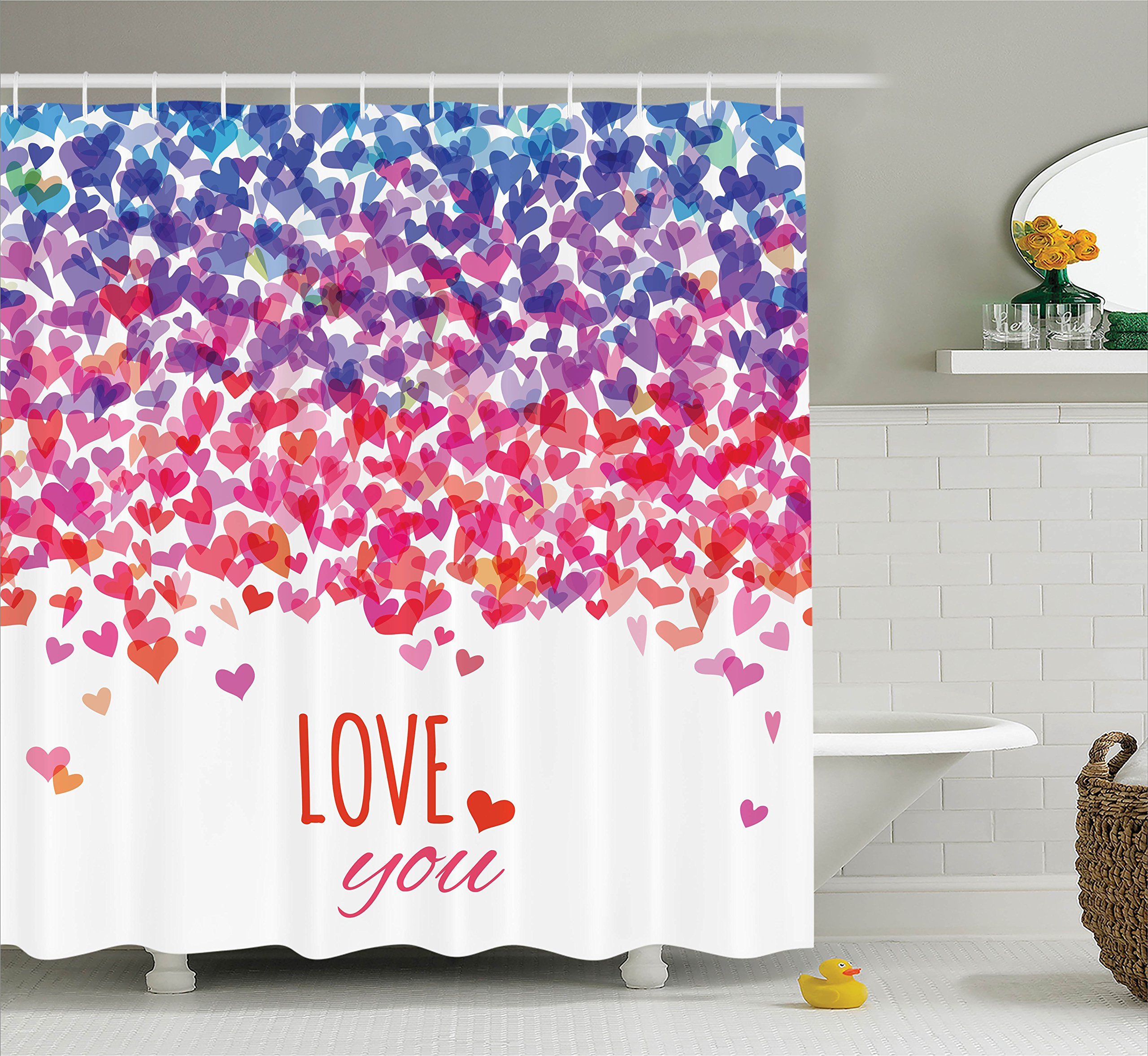 Ambesonne Love Shower Curtain by, Hearts and Love You Message Romantic Valentine's Day Inspired Springtime Cheerful Art, Fabric Bathroom Decor Set with Hooks, 75 Inches Long, Multicolor