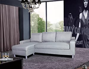 Container Furniture Direct Kachy Collection Modern Fabric Upholstered Right Facing Convertible Living Room Sectional Sofa Sleeper, Grey