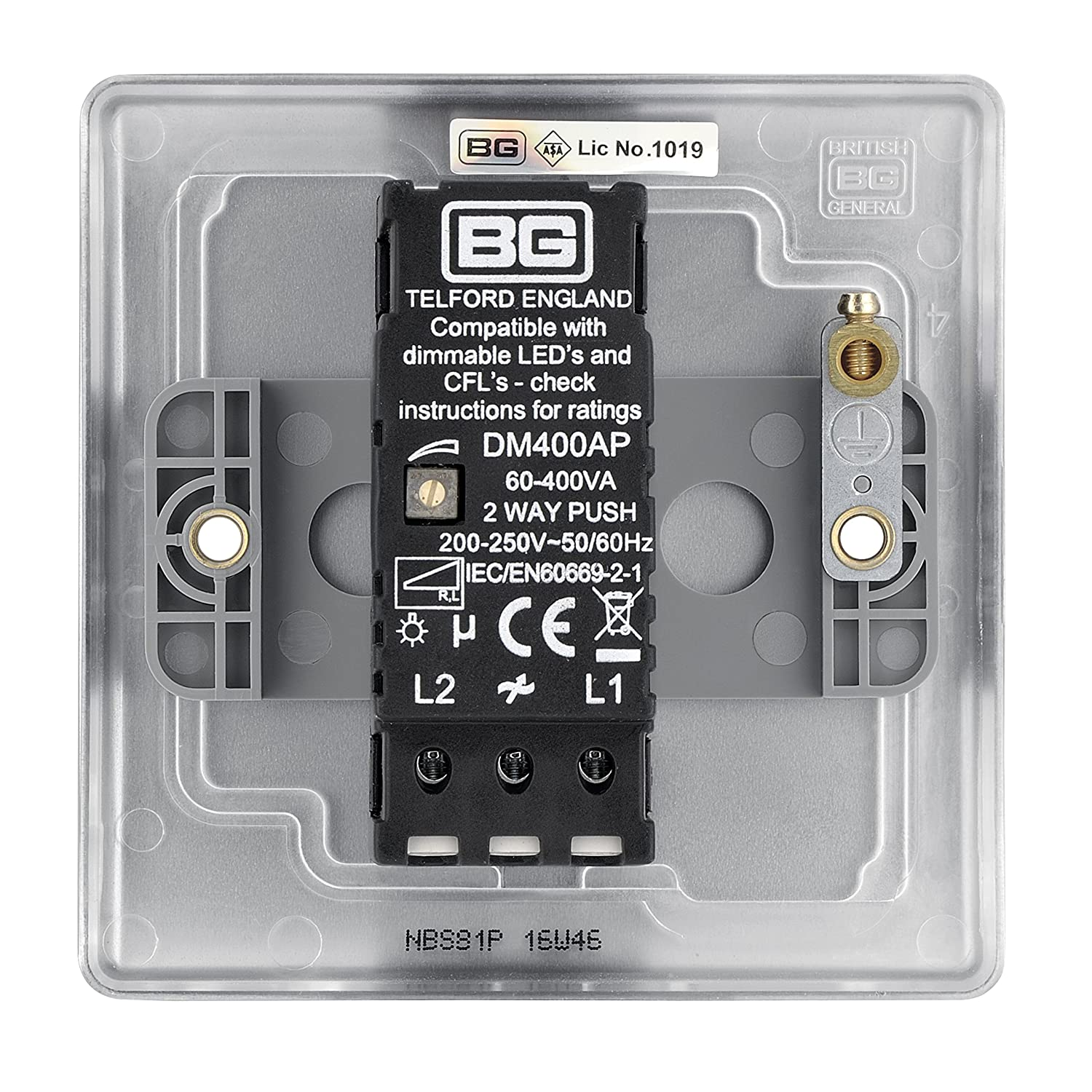 Bg Electrical Nbs81p 400w Single 2 Way Metal Brushed Steel Push On Wiring Works Telford Off Dimmer Switch Diy Tools