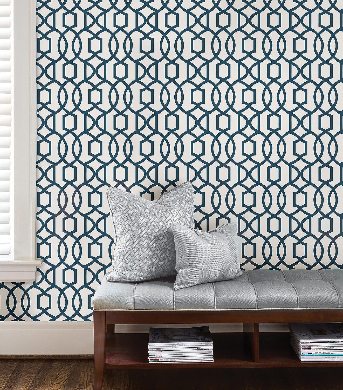 Wall Pops NU1648 Grand Trellis Peel and Stick Wallpaper Navy