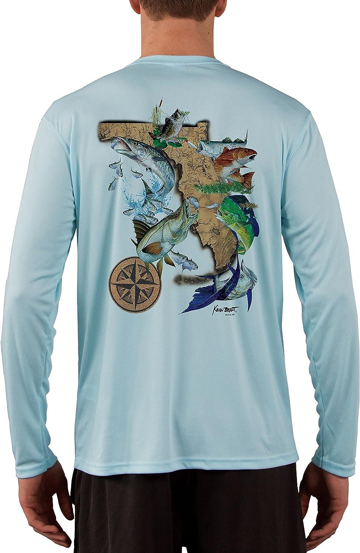 Arctic Blue Long Sleeve Microfiber UPF UV Florida Flats Fishing Shirt