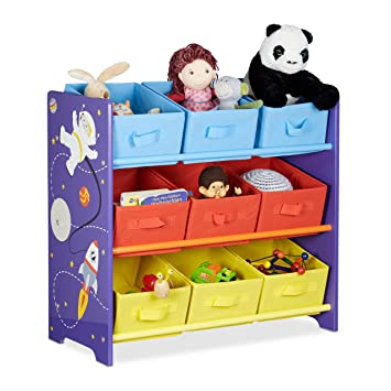 Relaxdays Kidsu0027 Toy Storage Shelves Funny With Outer Space Theme, Toy  Storage Containers With