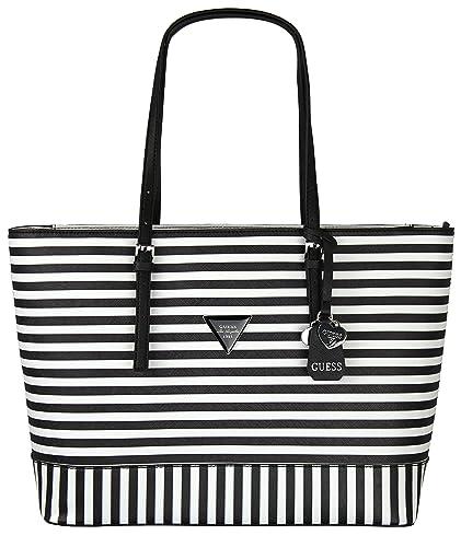 13aeadb6fd Amazon.com  Guess Womens Saffiano Leather Balina Shopper Shoulder Tote  Handbag - Black  White Stripe (Large)  Shoes