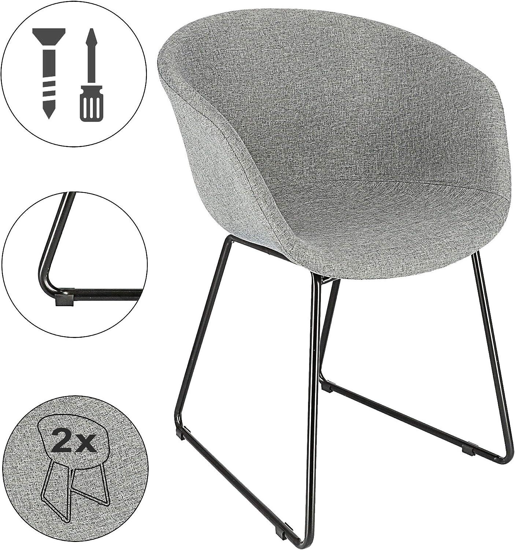 Cepewa – Juego de 2 sillas de Comedor con reposabrazos, Estructura de Metal Estable, Asiento Acolchado, Silla tapizada en Negro o Gris