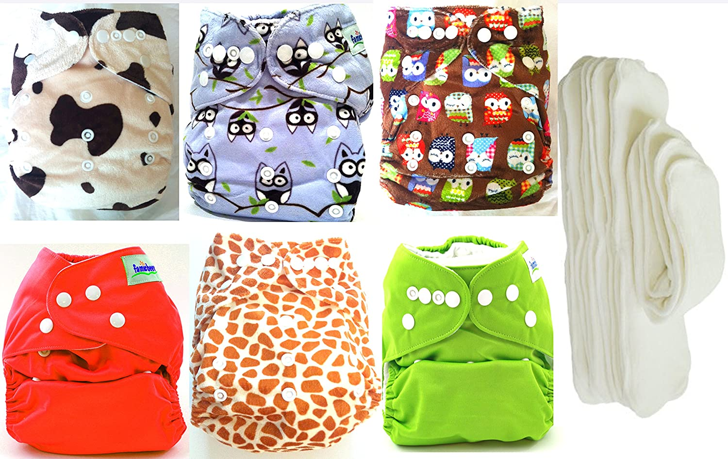 Baby with and 6pcs Pack Pocket Washable Adjustable Cloth Diaper Baby with 6Inserts Animals (animal print and owls) by BabyWearCloth B00LKH0FBG, セイワムラ:413a5667 --- ijpba.info