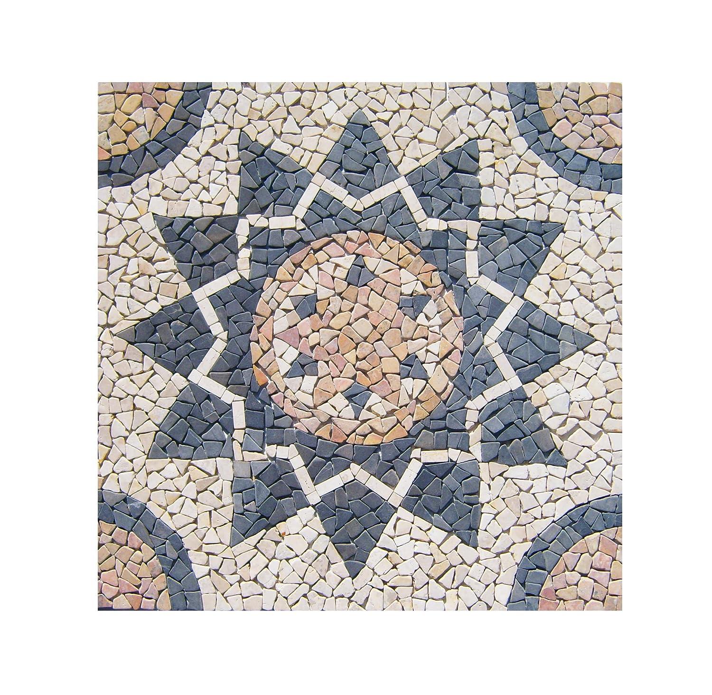 RO-001 90 x 90 cm Marmor Rosone me/di/ter/ran Einleger Mosaikfliesen Bild Dekoration Stein-Mosaik Fliesen Lager Verkauf Herne NRW