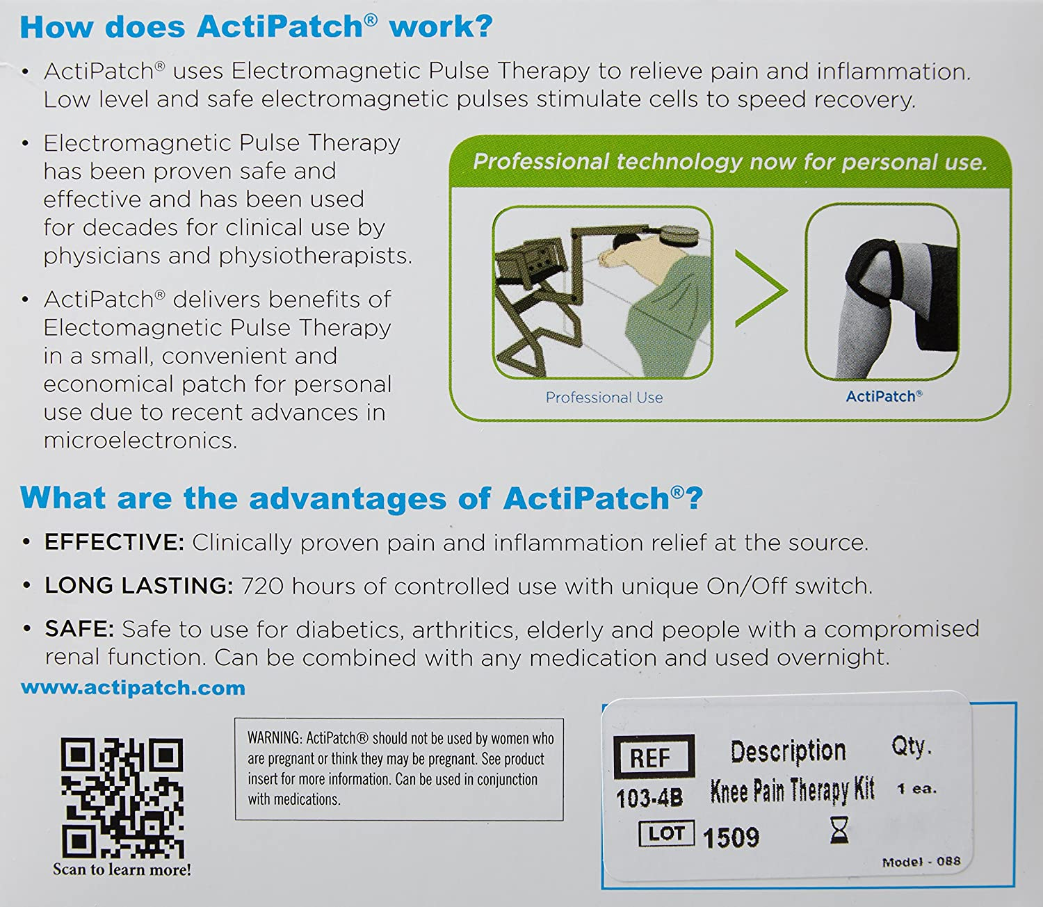 Actipatch Knee Pain Advanced Long Lasting Relief Health Alternative To Drugs As Treatments Electrical Energy Pulses Tr Personal Care