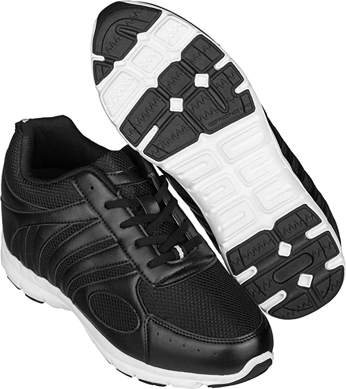 CALTO H71922-3.2 Inches Elevator Height Increase Black Mesh Lightweight Shoes