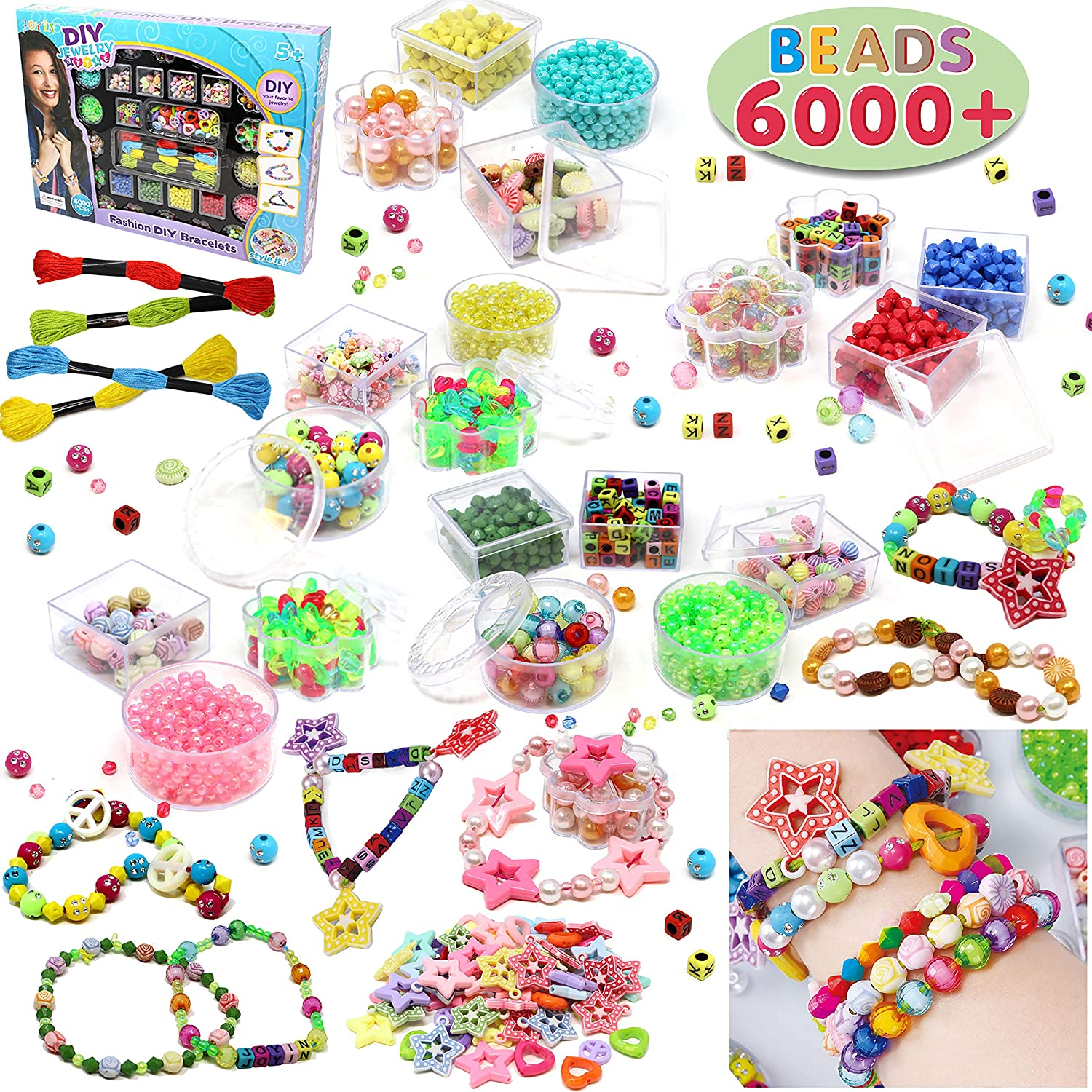 4064be877ba4a Beads Set 6000 Pieces DIY Beads Kit; 28 Different Types & 4 Color Strings  for Jewelry Necklace Making, Friendship Bracelet Making and Valentines Day  ...