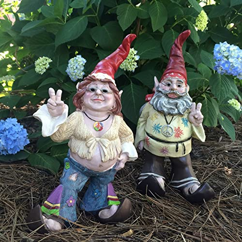 1970's 15″ H Hippie Dude Jerry G and Flower Child Chick Janice J Gnome Home and Garden Statue Figurine