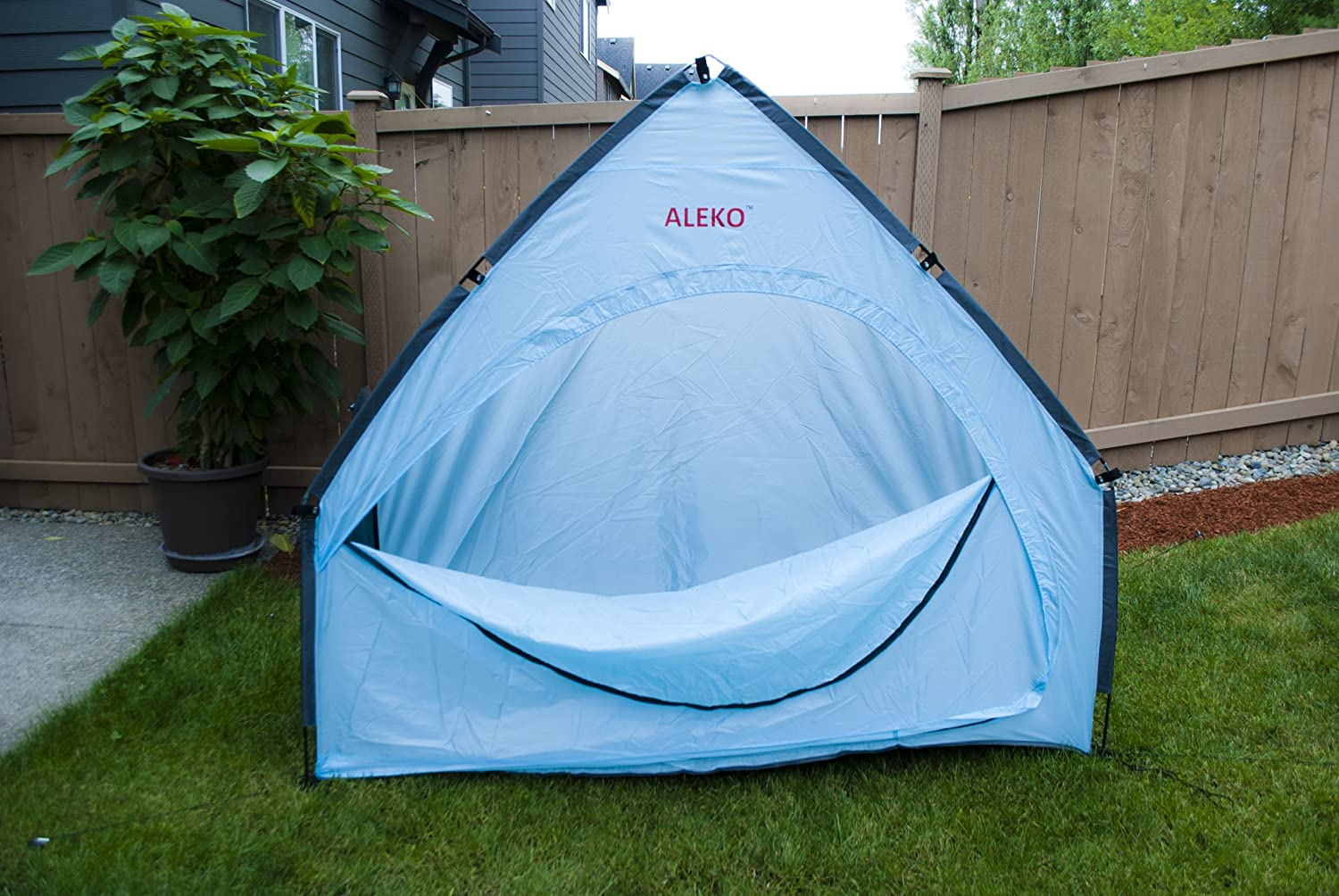 ALEKO BS68BL Portable Pop Up Bike Tent Bicycle Storage Shed Weather Resistant Protection Outdoor with Carrying Case 79 X 63 X 32 Inches Blue Bike Storage