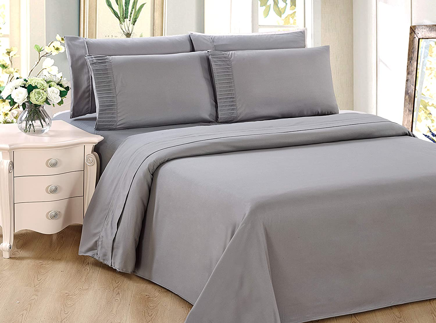 White Color King Size Bamboo Living Ultra Soft Silky Deep Pocket Solid Rayon from Bamboo 4 Pieces Sheet Set with 2 Pillowcases