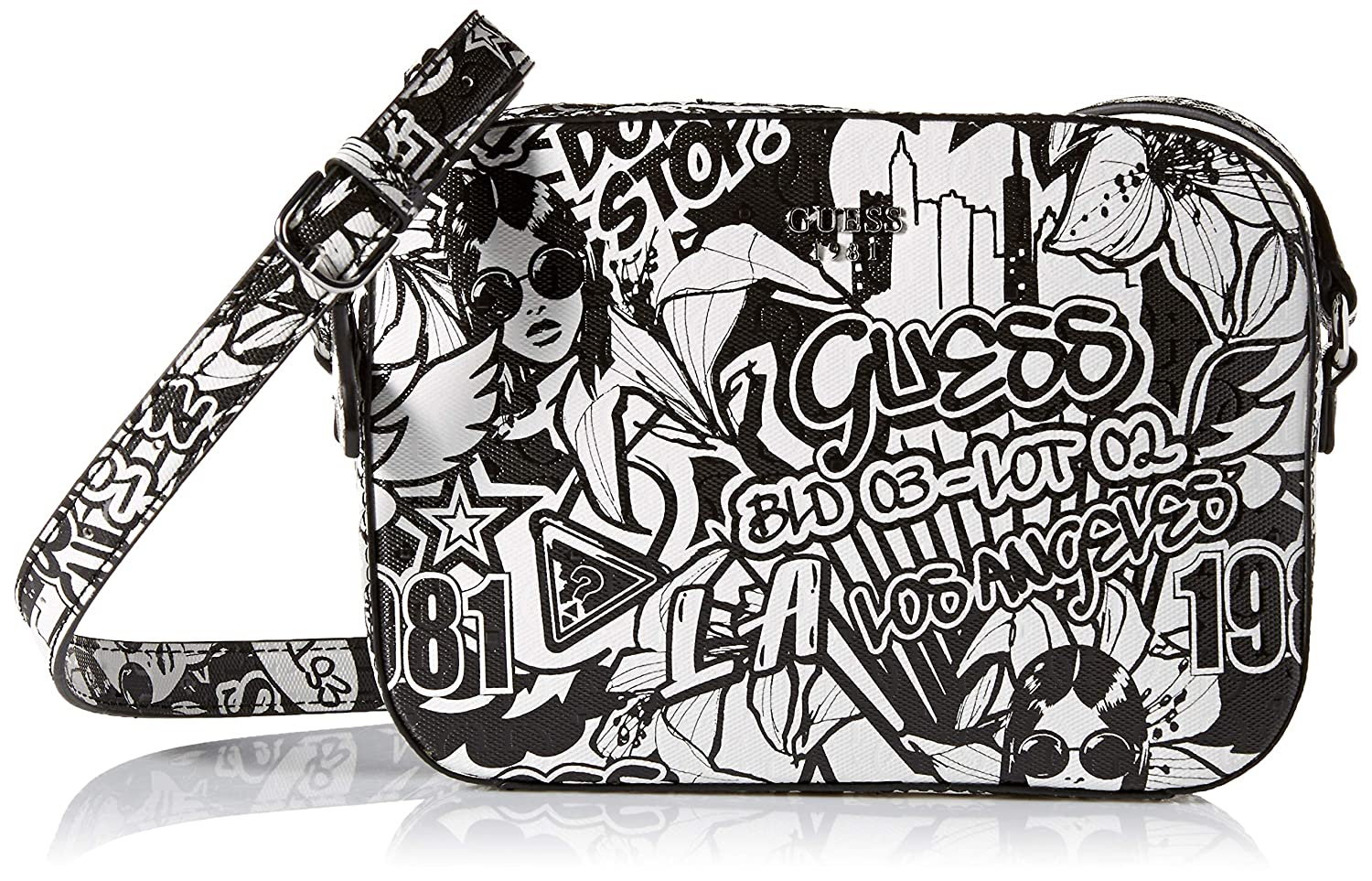 Amazon com guess kamryn graffiti crossbody top zip clothing