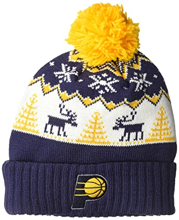 hot sale online 594da 53b13 NBA Pacers Reindeer Cuffed Pom Knit,Indiana Pacers,Navy,One Size