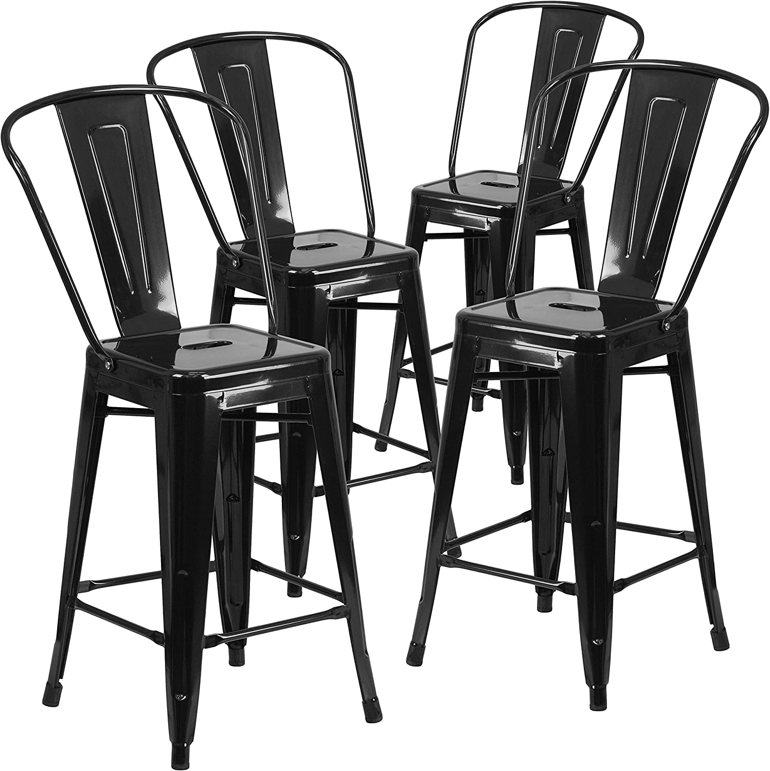 Flash Furniture 4 Pk. 24'' High Black Metal Indoor-Outdoor Counter Height Stool with Back