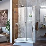 DreamLine Unidoor 40-41 in. W x 72 in. H Frameless Hinged Shower Door with Shelves in Chrome, SHDR-20407210S-01