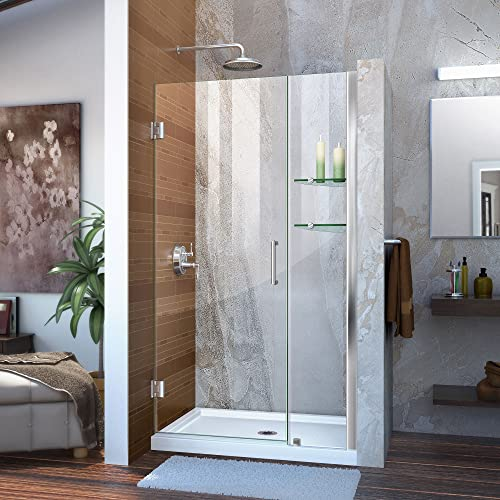 DreamLine Unidoor 40-41 in. W x 72 in. H Frameless Hinged Shower Door with Shelves in Chrome, SHDR-20407210S-01