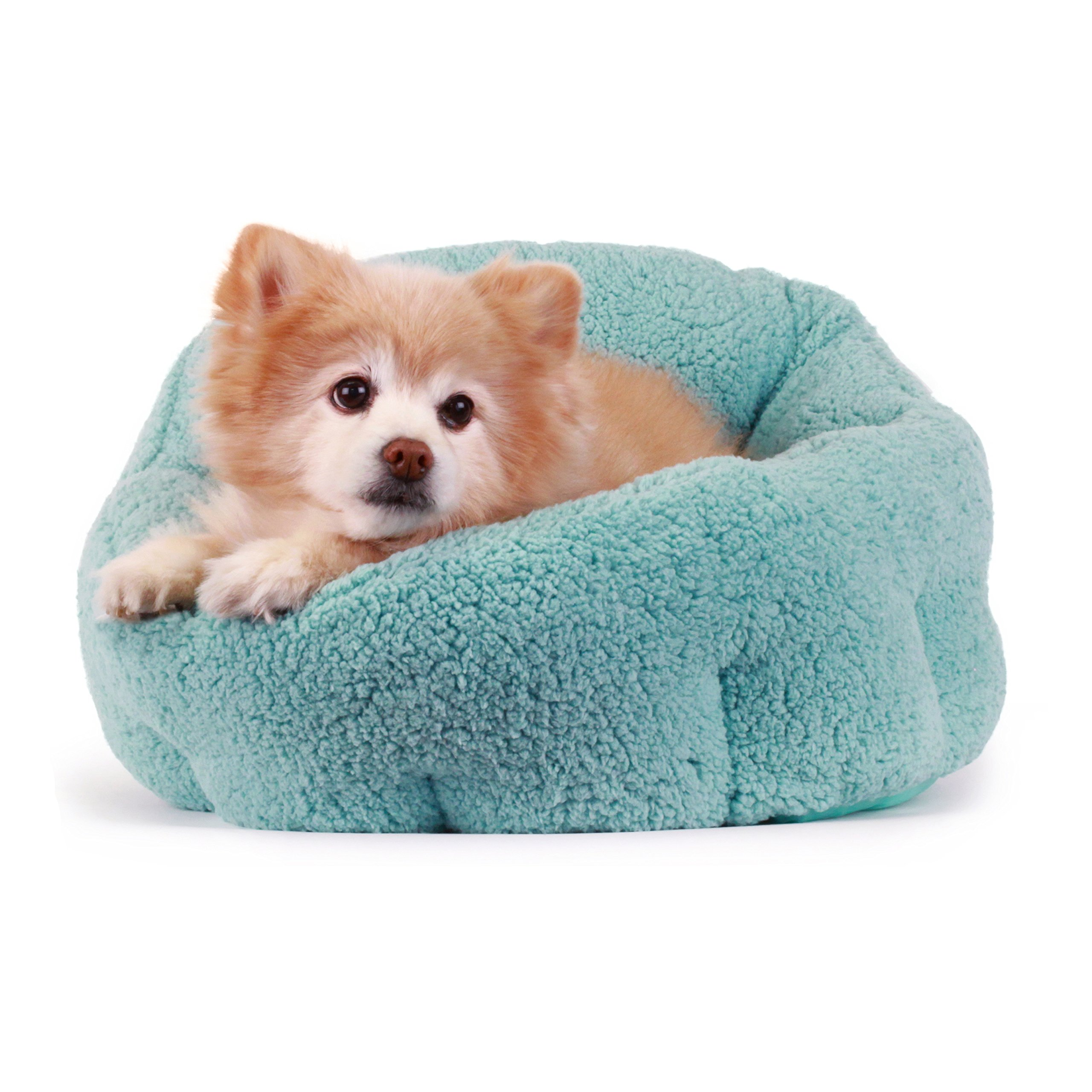 Best Friends by Sheri OrthoComfort Deep Dish Cuddler (20x20x12'') - Self-Warming  Cat and Dog Bed, Teal