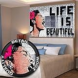 Póster Banksy Grafiti Artista Mural Decoración Life is beautiful Pop Art Arte estilo callejero Plantilla Artista urbano | foto póster mural imagen deco pared by GREAT ART (140 x 100 cm)