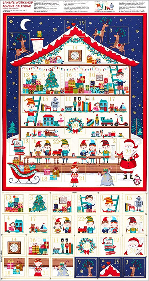 ADVENT CALENDAR FABRIC PANEL HOLIDAY SPARKLE CHRISTMAS fabric NEW WALLHANGING