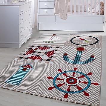 Carpetsale24 Kinder Teppiche Für Kinderzimmer, Babyzimmer, Spielteppich  Pirat Motiv Kariert, Multi Farben Beige