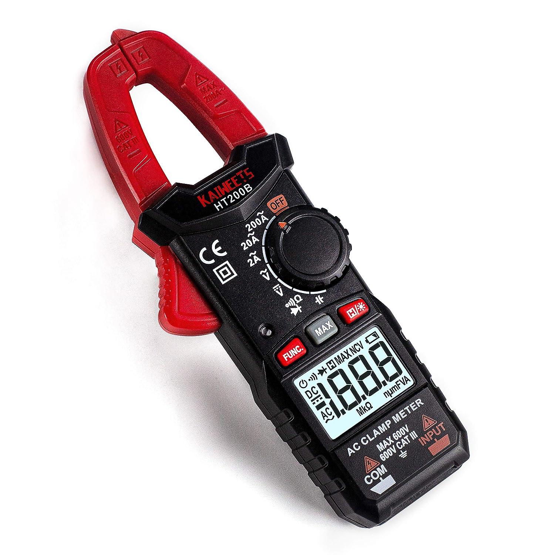 KAIWEETS HT200B Pinza Amperimétrica, Autorango CA Pinza Amperímetros, Polimetro Portátil para Medir CA Corriente, CC/AC Voltaje, Ohm, Capacitancia y Resistancia