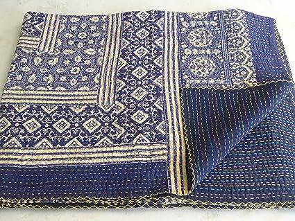 Sophia art indian throw bedding applique kantha quilt cotton