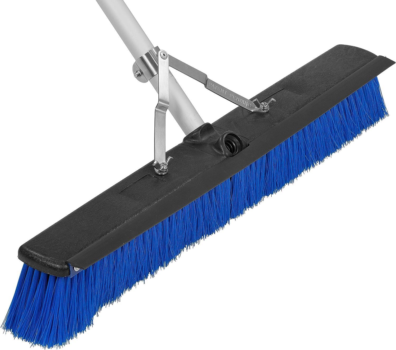 Carlisle 3621961814 Complete Aluminum Handle Floor Sweep with Squeegee, Plastic Bristles, 18' Length, 3' Trim, Blue 18 Length 3 Trim Carlisle Corporation