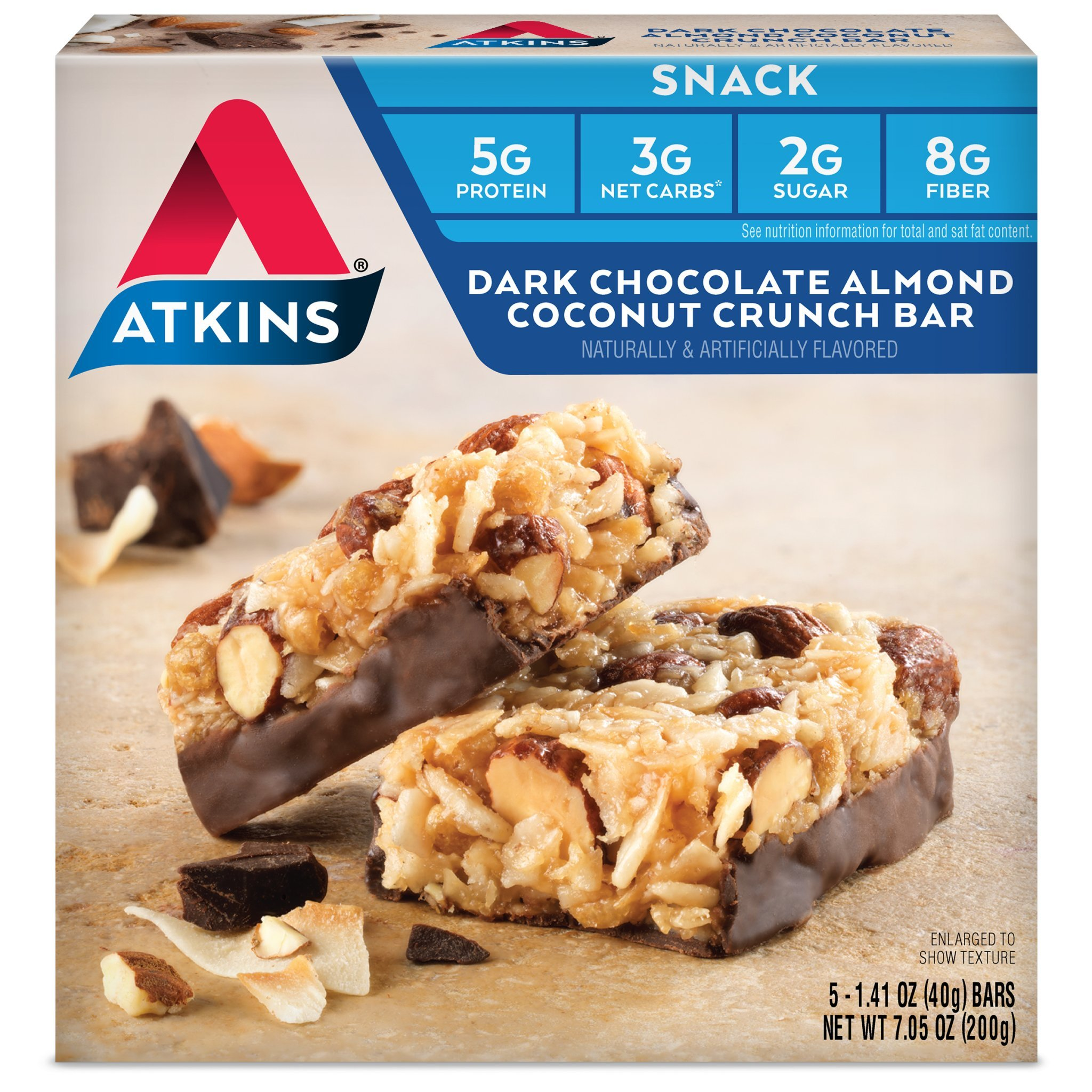 Atkins Snack Bars, Dark Chocolate Almond Coconut Crunch, 1.4 Ounce, 5 Count