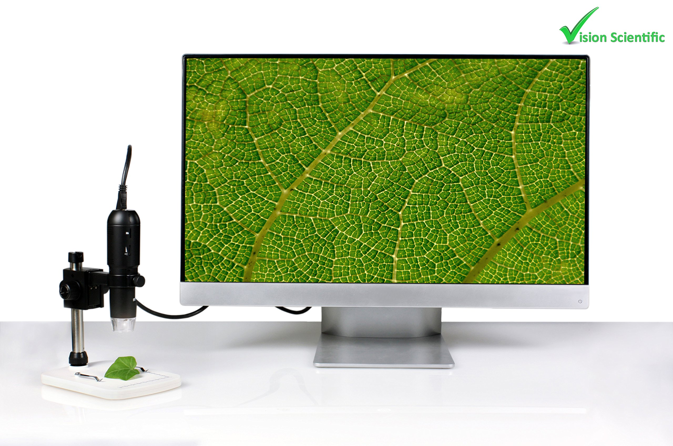 Vision Scientific VMD005 1080P Full HD Digital Microscope with 3MP Image Sensor, HDMI Cable to Connect to TV/Monitor, 220x Magnification, LED Illumination, USB, JPEG, Micro-SD Storage, PC/Mac by Vision Scientific