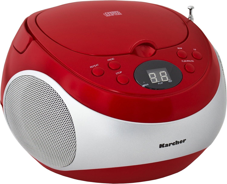 Karcher Rr 5020 Cobold Tragbares Stereo Cd Radio Cd Player Fm Radio Batterie Netzbetrieb Aux In Rot Silber Audio Hifi