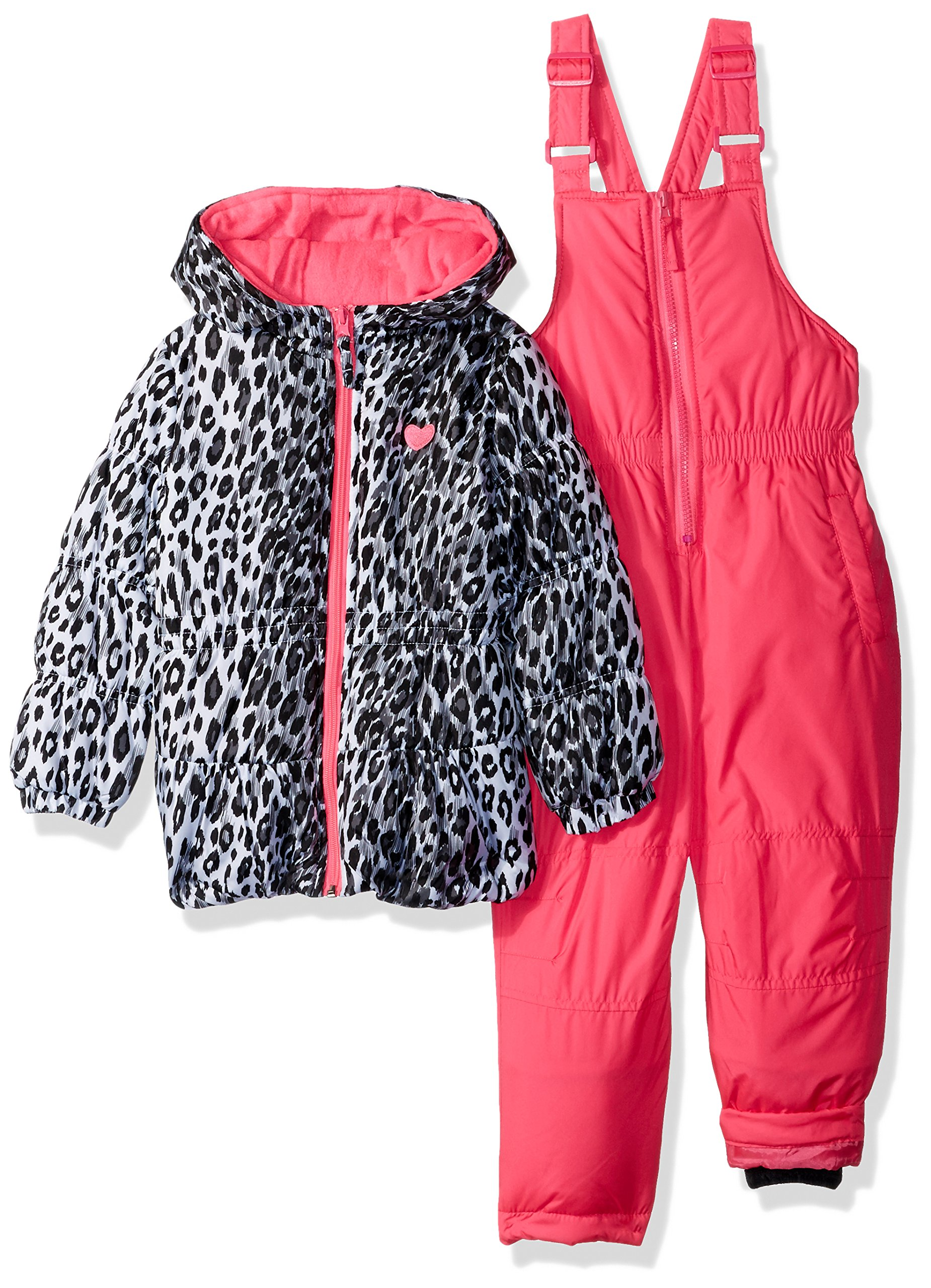 Pink Platinum Little Girls' Printed Super Snowsuit, Pink Cheetah, 4
