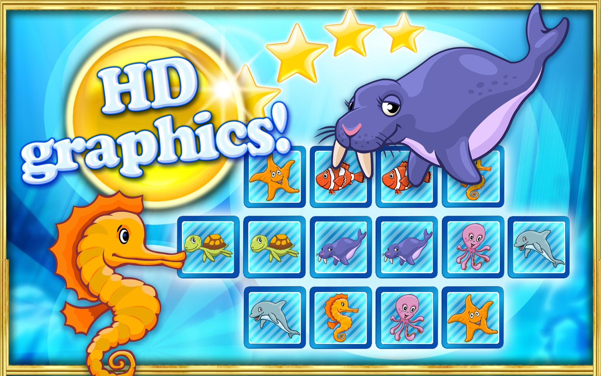 Pares memo juego de puzzle oc ano animales y peces de - Puzzles para ninos pequenos ...
