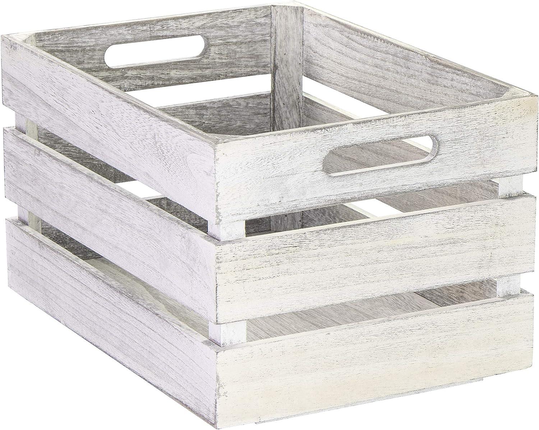 Caja de madera vintage de Laublust, con asas, aprox. 35 x 25 x 20 cm, color blanco, FSC® – Caja de almacenamiento para muebles: Amazon.es: Hogar