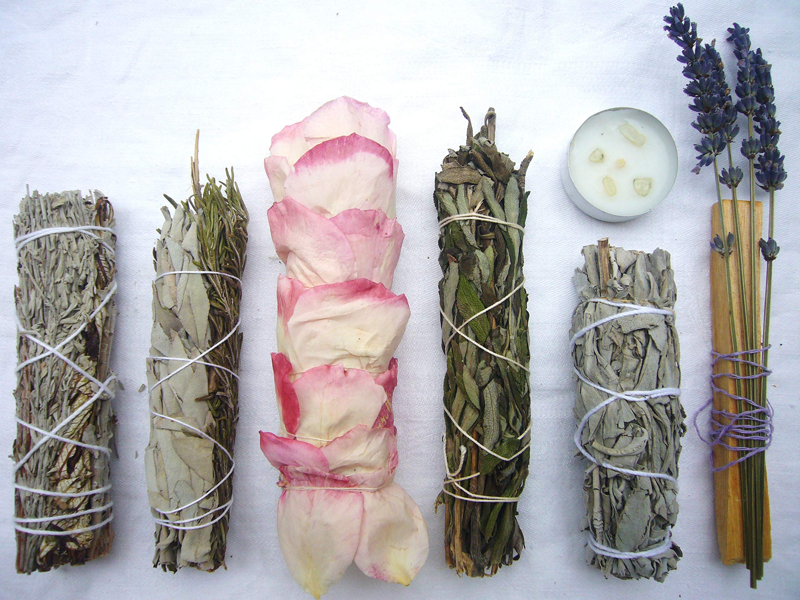 L'AMOUR yes! Luxury Smudge Kit | Rose White Sage, Rosemary, Lavender Smudge Stick, Yerba Santa & Blue Sage, White Sage, Palo Santo, Crystal Candle | Home Cleansing, Blessing, Manifesting, Rituals by L'AMOUR yes! (Image #7)