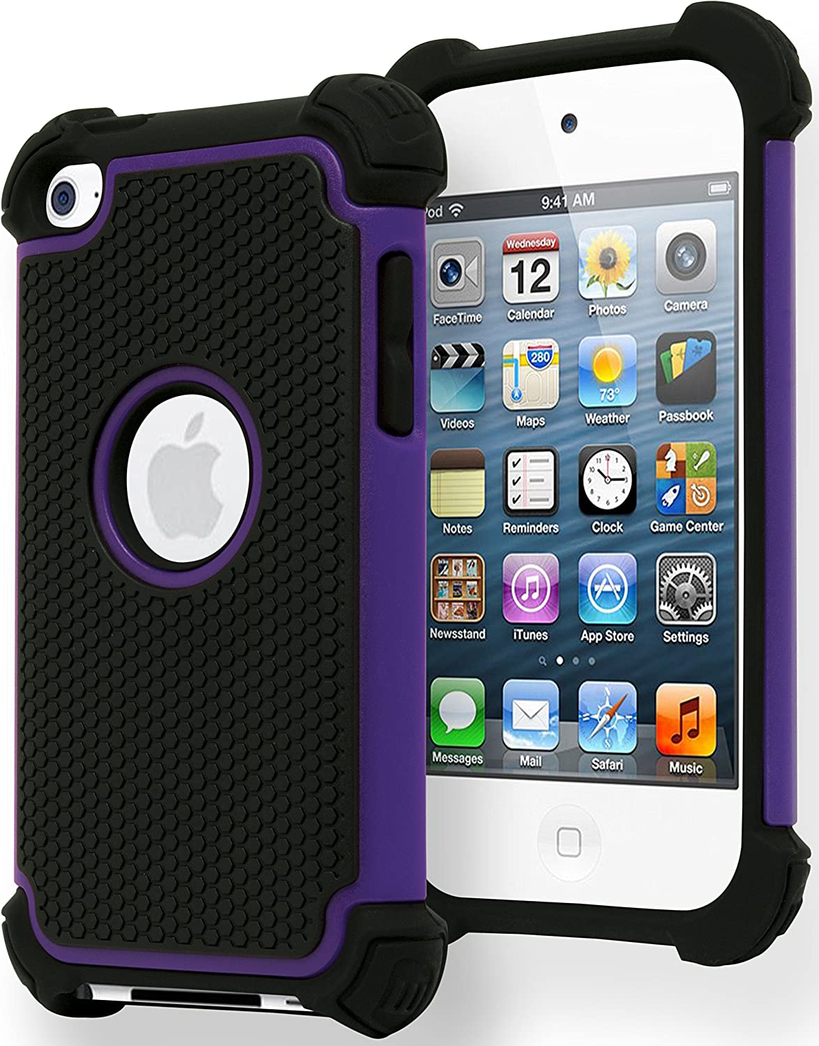 Bastex iPod Touch 4 Case, Hybrid Slim Fit Black Rubber Silicone Cover Hard Plastic Purple & Black Shock Case for Apple iPod Touch 4, 4th Generation