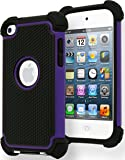iPod Touch 4 Case, Bastex Hybrid Slim Fit Black Rubber Silicone Cover Hard Plastic Purple & Black Shock Case for Apple iPod Touch 4, 4th Generation