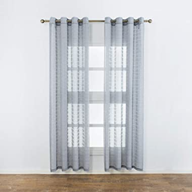 Aquazolax Linen Semi Sheer Curtains Striped Voile Window Treatment Grommet Top Living Room Bedroom Curtains, 2 Panels, 52 x 84 Inch Long, Grey