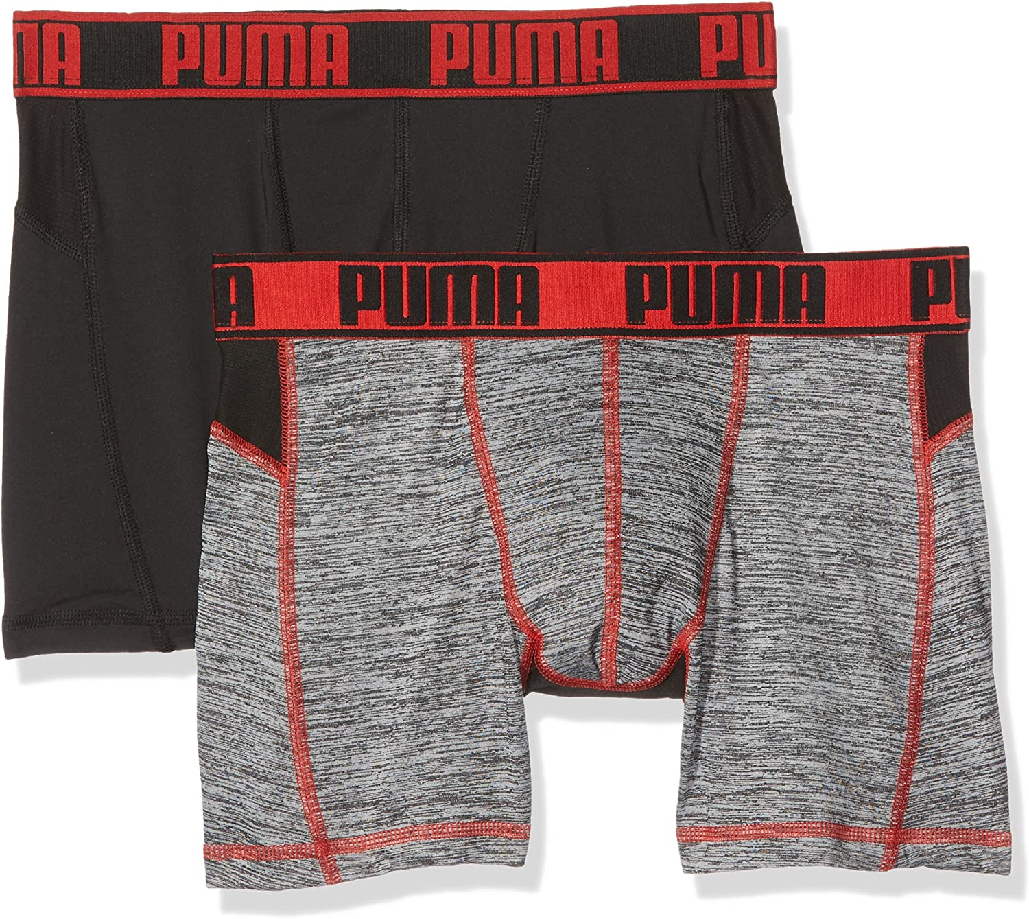 PUMA Active Grizzly Melange Boxer 2p Packed - Ropa Interior de Deporte Hombre