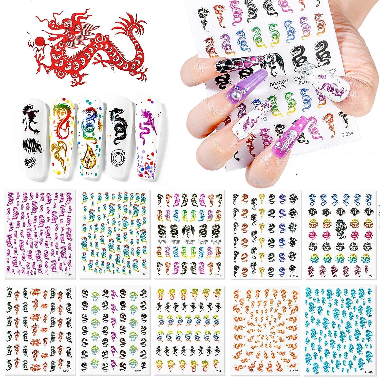 Kalolary 10 Sheets Dragon Nail Art Stickers, 3D Nail Art Stickers Decals Fashion Dragon Nail Stickers for Fingernails Decor Manicure Decorations Nail Art Accessories